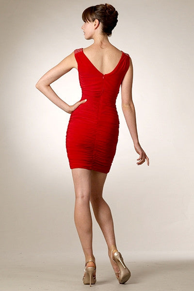 Cowl Neck Sleeveless Short Red Sheath Cocktail Dress