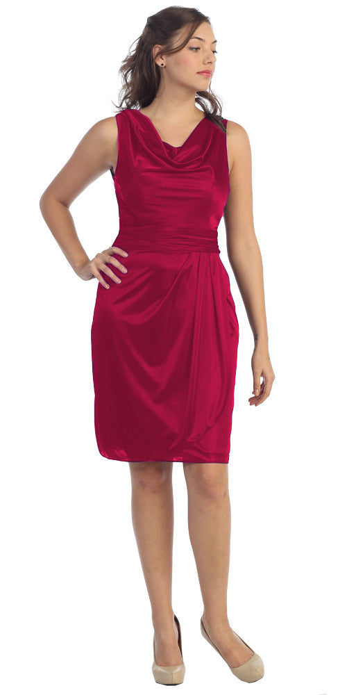 Cowl Neck Sleeveless Short Red Cocktail Dress