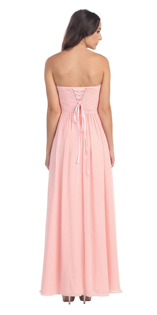 Popular Chiffon Strapless Blush Beach Wedding Bridesmaid Dress