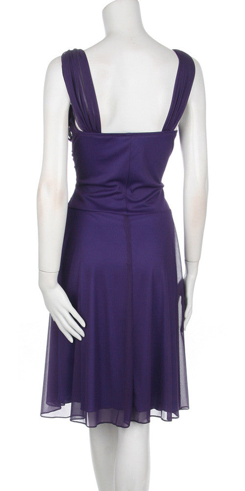 Short Eggplant Dress Knee Length Bridesmaid Chiffon Wide Straps