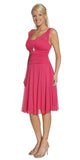Short Fuchsia Dress Knee Length Bridesmaid Chiffon Wide Straps