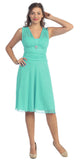 Short Mint Dress Knee Length Bridesmaid Chiffon Wide Straps