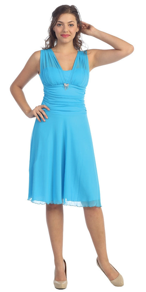 Short Turquoise Dress Knee Length Bridesmaid Chiffon Wide Straps