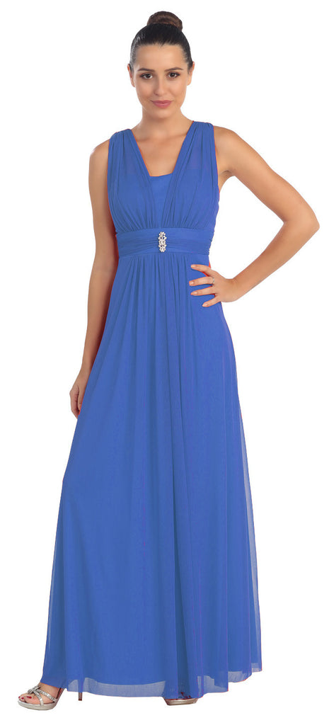 Royal Blue Long Semi Formal Dress Wide Shoulder Straps Chiffon