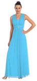 Turquoise Long Semi Formal Dress Wide Shoulder Straps Chiffon