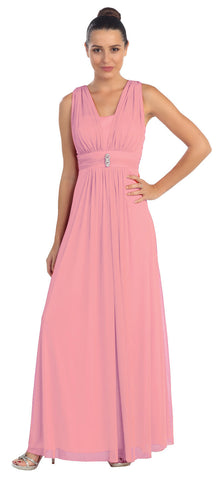 Dusty Rose Long Semi Formal Dress Wide Shoulder Straps Chiffon