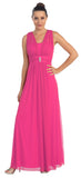 Fuchsia Long Semi Formal Dress Wide Shoulder Straps Chiffon