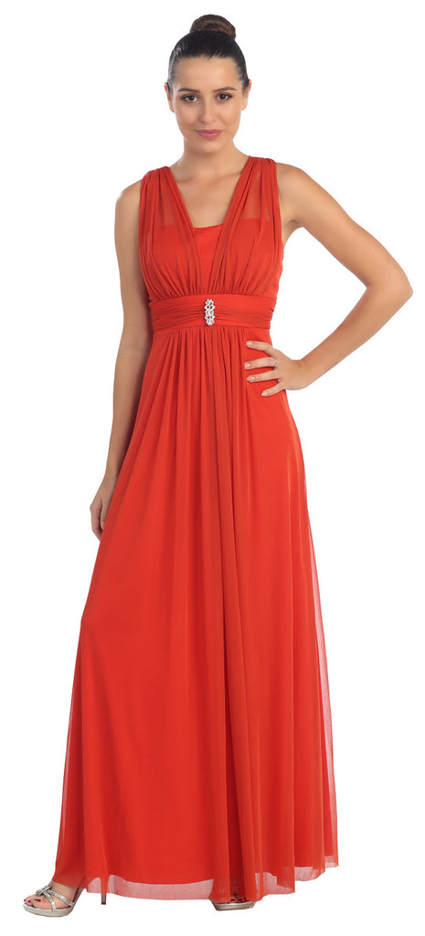Red Long Semi Formal Dress Wide Shoulder Straps Chiffon