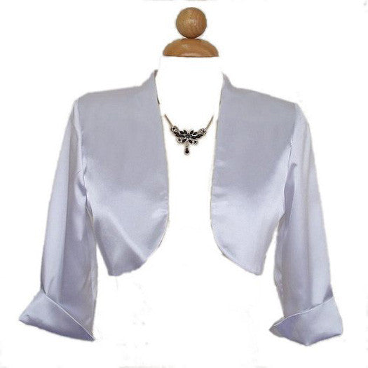 Mid Length Sleeve White Satin Bolero Jacket Shrug