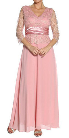ON SPECIAL - LIMITED STOCK - Dusty Rose Mother of Groom Dress 3/4 Lace Sleeve V Neck Empire Waist