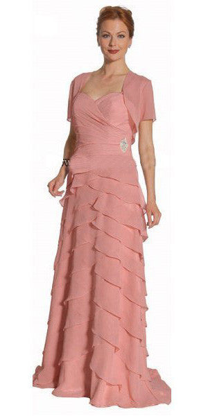 Dusty Rose Spaghetti Strap Chiffon Formal Dress Multi Ruffle Hem