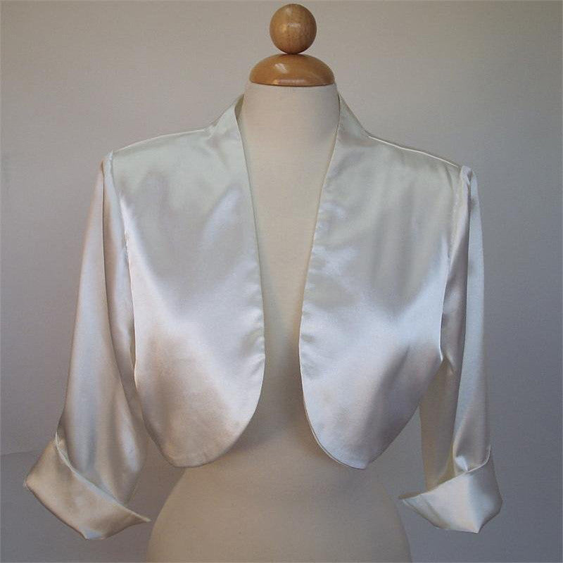 Mid Length Sleeve Ivory Satin Bolero Jacket Shrug