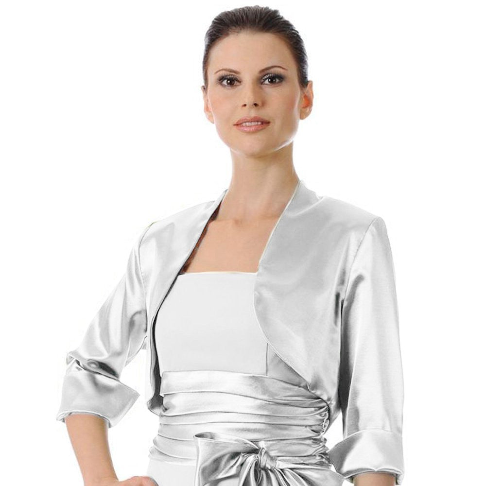 Mid Length Sleeve Silver Satin Bolero Jacket Shrug