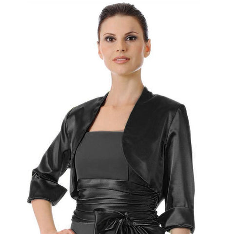 Mid Length Sleeve Black Satin Bolero Jacket Shrug