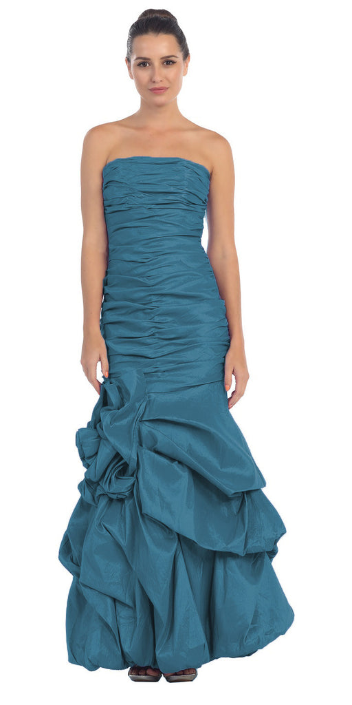 Elegant Dress Mermaid Floor Length Formal Teal Gown Strapless Ruched