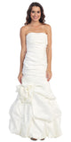 Elegant Dress Mermaid Floor Length Formal White Gown Strapless Ruched