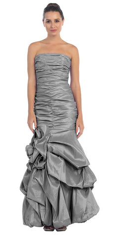 Elegant Dress Mermaid Floor Length Formal Charcoal Gown Strapless Ruched