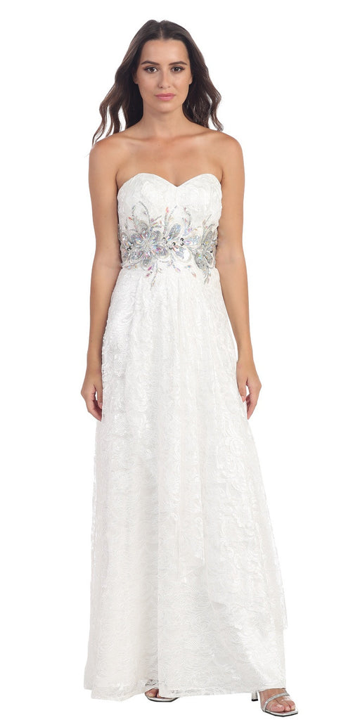 Elegant Long Lace Evening Gown Off White Strapless Sequin Bodice
