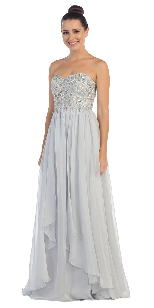 Embellished Bodice Strapless Silver Long Formal Gown