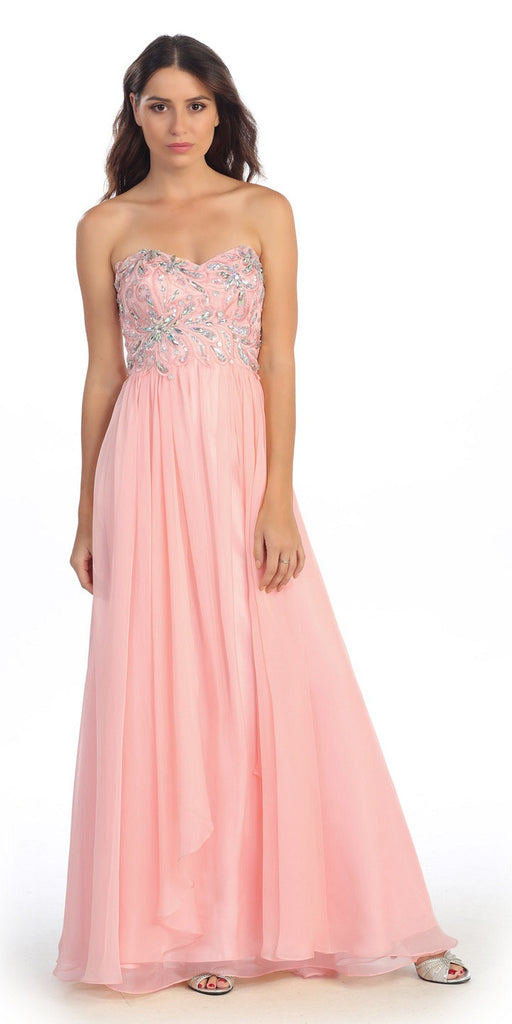 Embellished Bodice Strapless Blush' Long Formal Gown