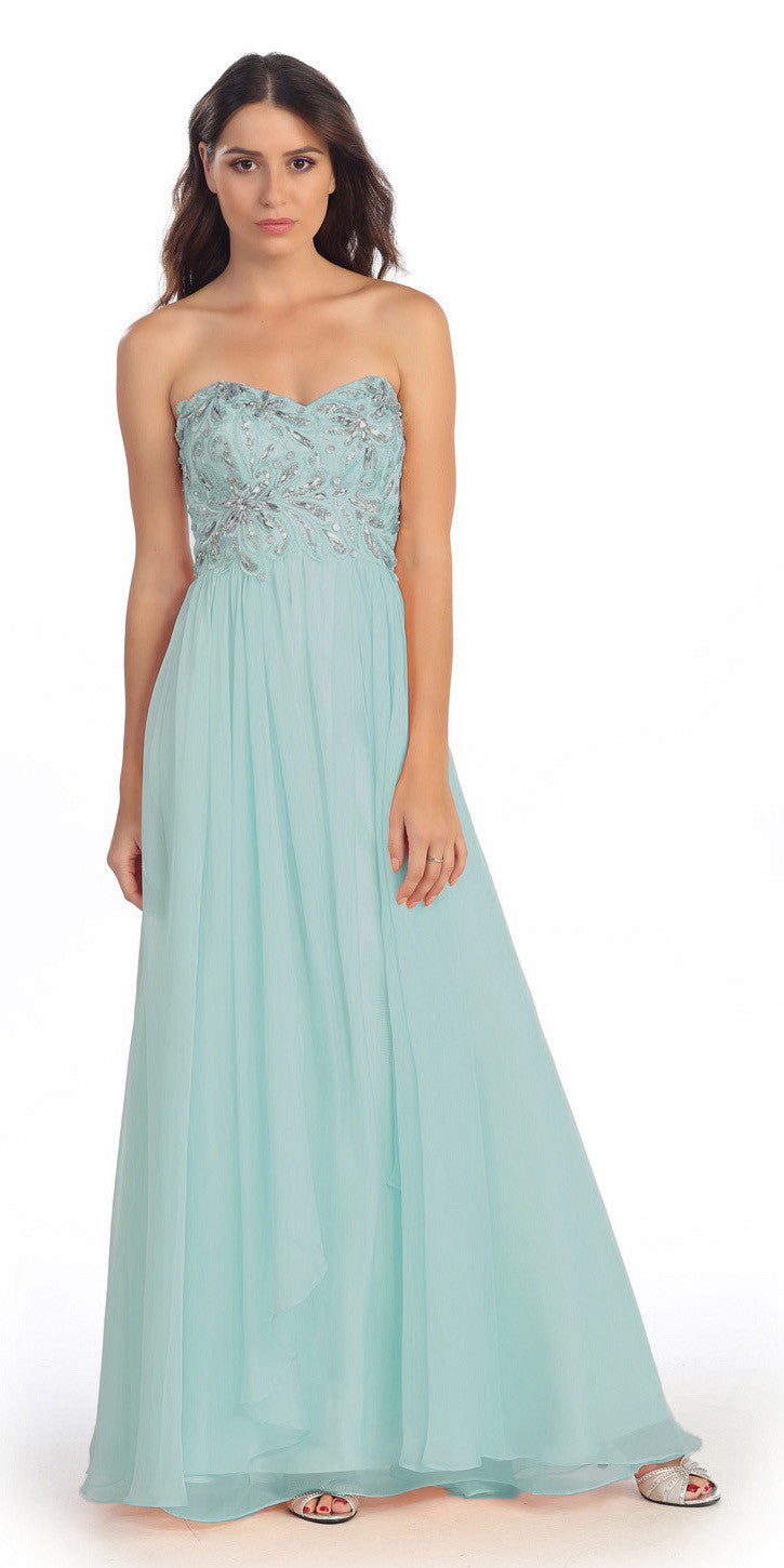Embellished Bodice Strapless Mint Long Formal Gown