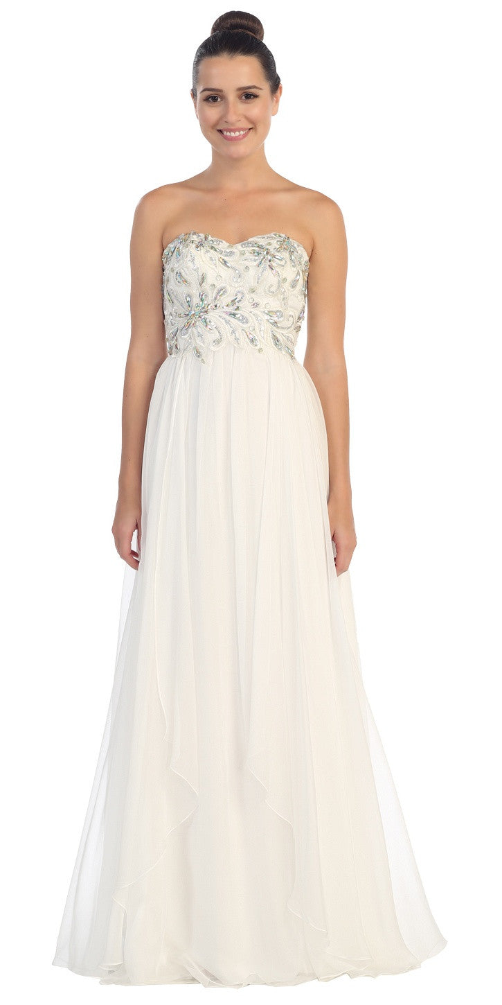 Embellished Bodice Strapless Off White Long Formal Gown