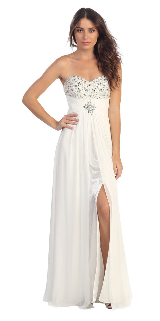 Embellished Bodice Strapless Long Off White Column Gown