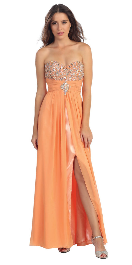 Embellished Bodice Strapless Long Peach Column Gown
