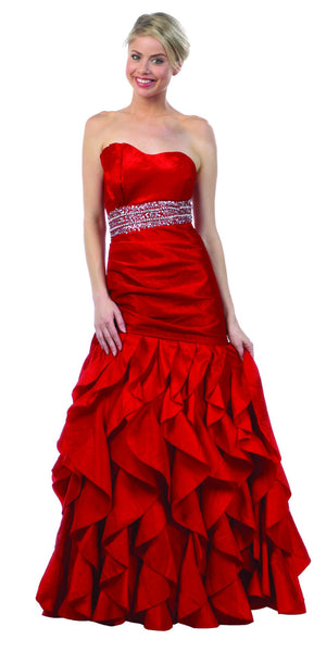 ON SPECIAL - LIMITED STOCK - Empire Jeweled Waist Red Formal Dress Asymmetric Ruffle Hem Fan Bust