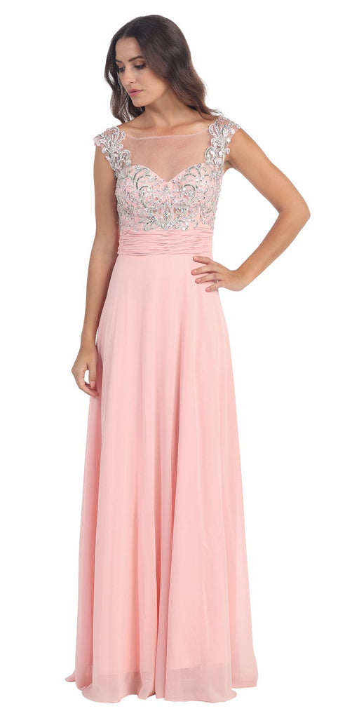 Evening Gown Blush Full Length Cap Sleeve Illusion Neck