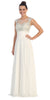 Evening Gown Off White Full Length Cap Sleeve Illusion Neck