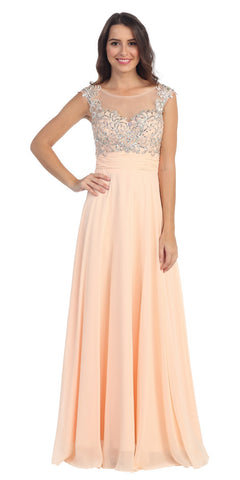 Evening Gown Peach Full Length Cap Sleeve Illusion Neck