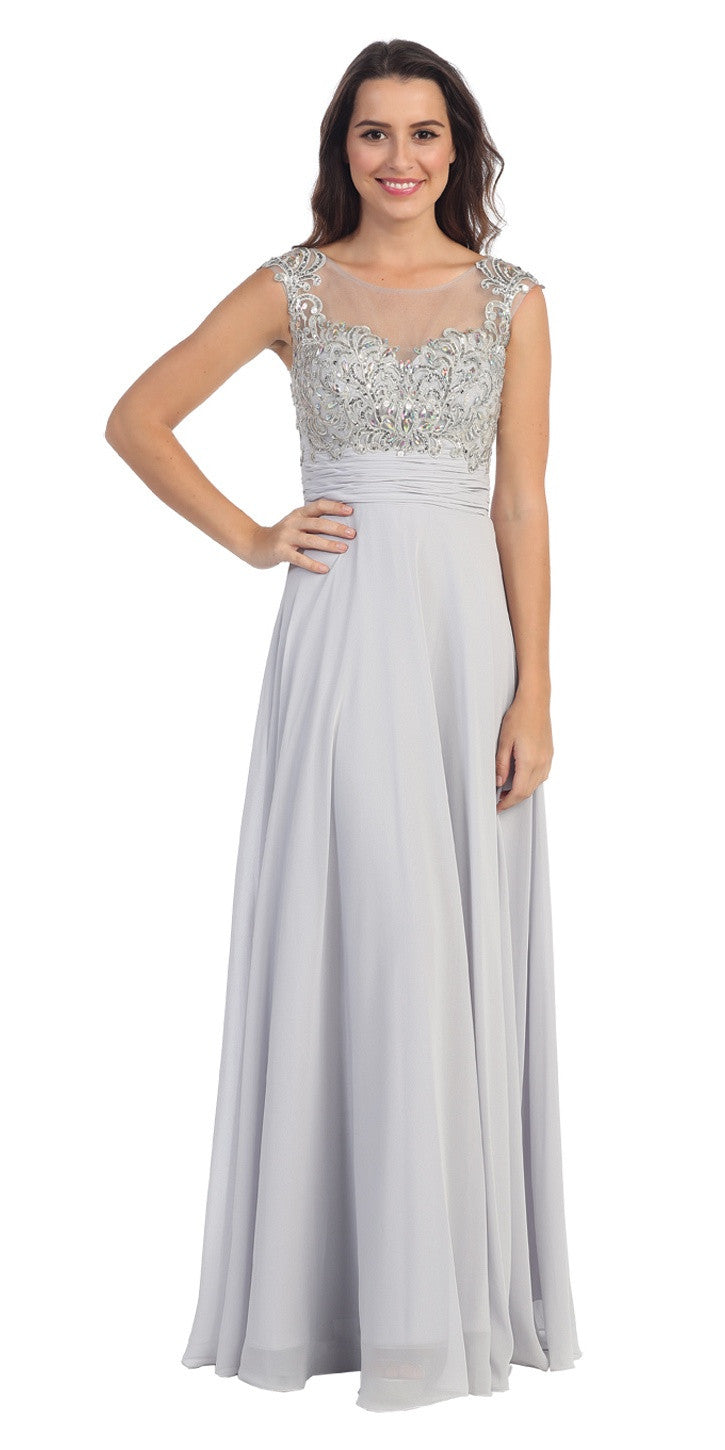Evening Gown Silver Full Length Cap Sleeve Illusion Neck