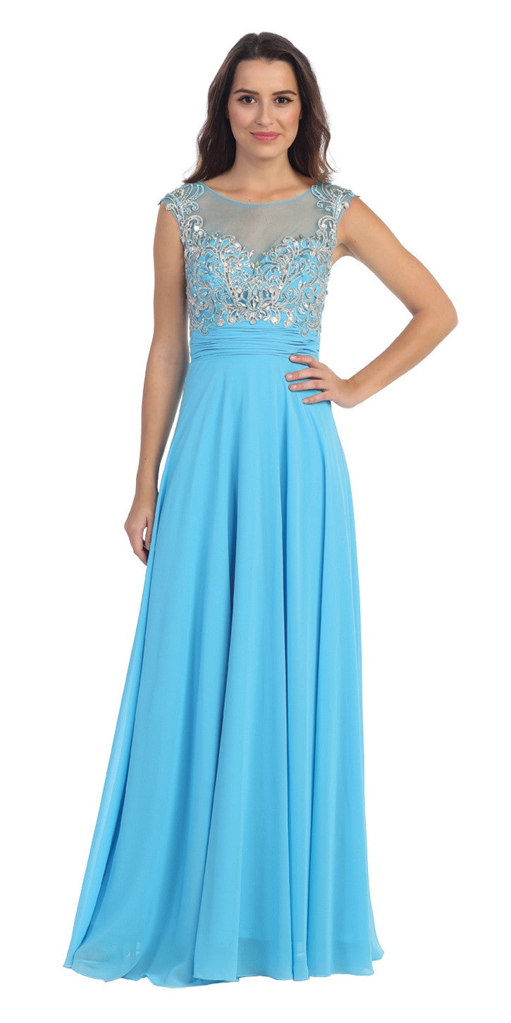 Evening Gown Turquoise Full Length Cap Sleeve Illusion Neck ...