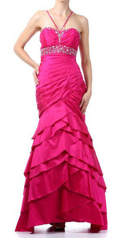 ON SPECIAL - LIMITED STOCK - Exotic Fuchsia Formal Dress Long Taffeta Mermaid Style Layered Bead