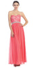 A Line Chiffon Corset Back Dress Coral Lace Bodice Empire