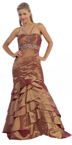 ON SPECIAL - LIMITED STOCK - Exotic Rust/Gold Formal Dress Long Taffeta Mermaid Style Layer Bead