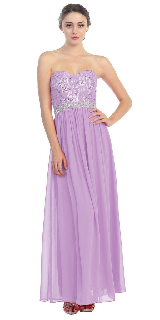 A Line Chiffon Corset Back Dress Lilac Lace Bodice Empire