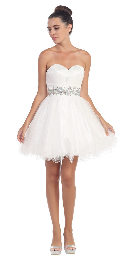 Ruched Bodice Studded Waist White Short Poofy Homecoming Dress