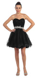 Ruched Bodice Studded Waist Black Short Poofy Homecoming Dress