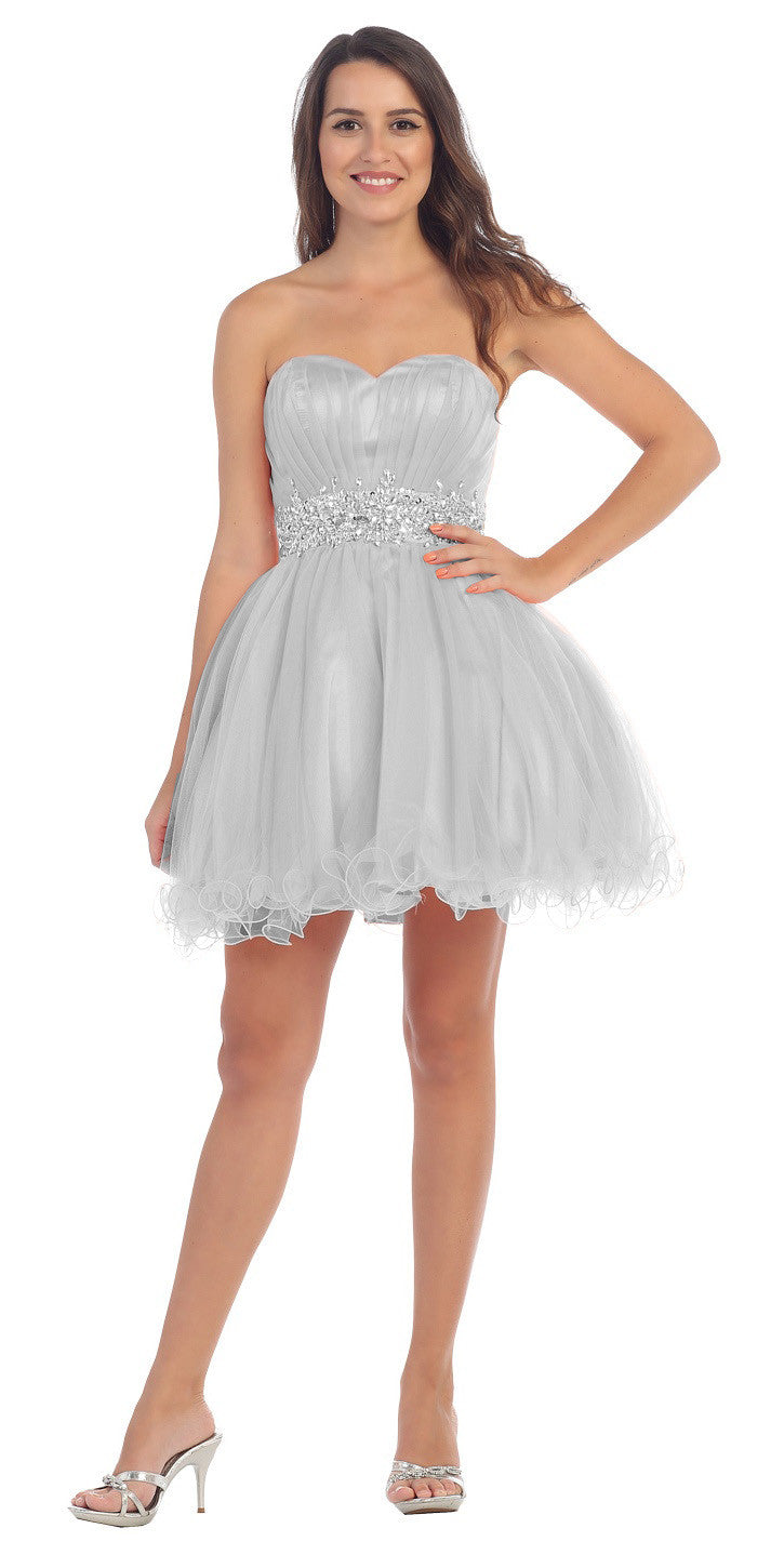 25e8488cfe4 ... Ruched Bodice Studded Waist Silver Short Poofy Homecoming Dress ...