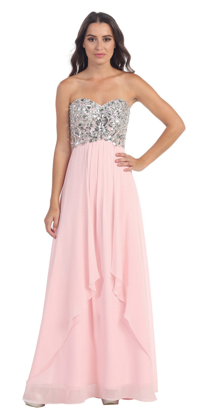 Floor Length Chiffon Blush Evening Gown Strapless Sparkly Rhinestones