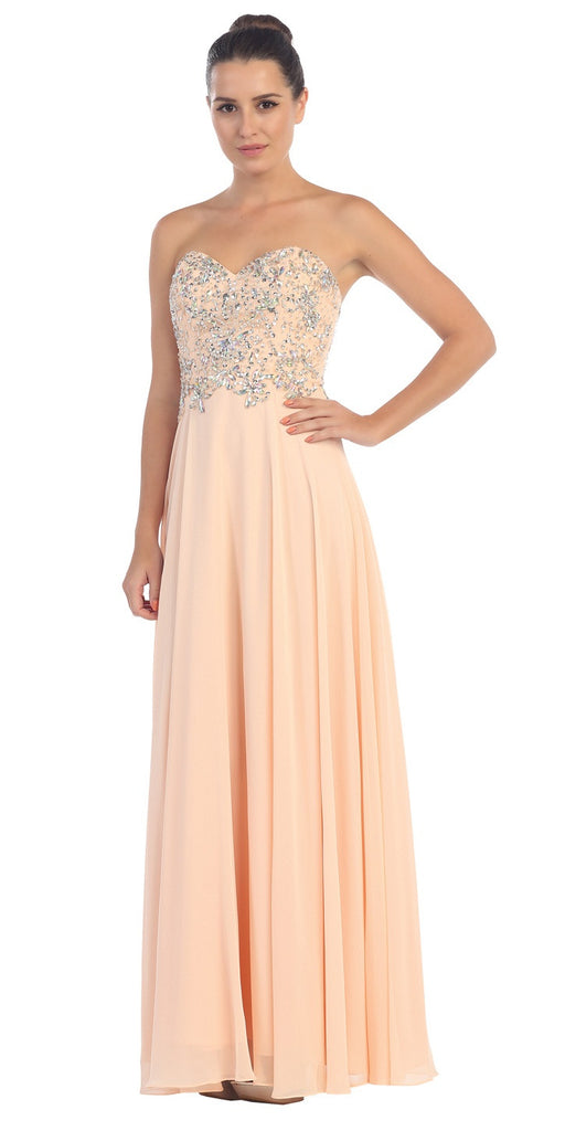 Floor Length Formal Peach Chiffon Gown Strapless Beaded Bodice