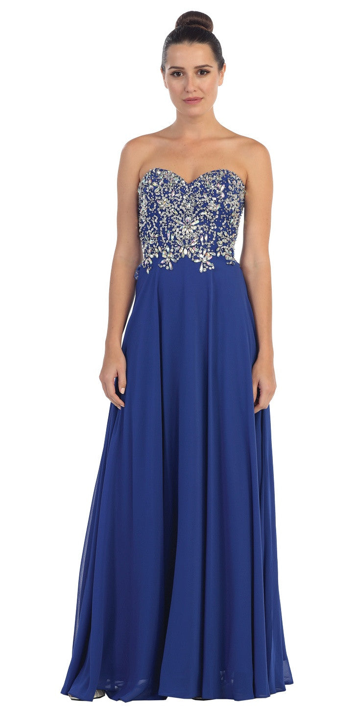 Floor Length Formal Royal Blue Chiffon Gown Strapless Beaded Bodice