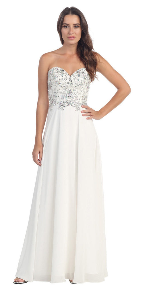 Floor Length Formal White Chiffon Gown Strapless Beaded Bodice