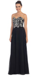 Floor Length Formal Black Chiffon Gown Strapless Beaded Bodice
