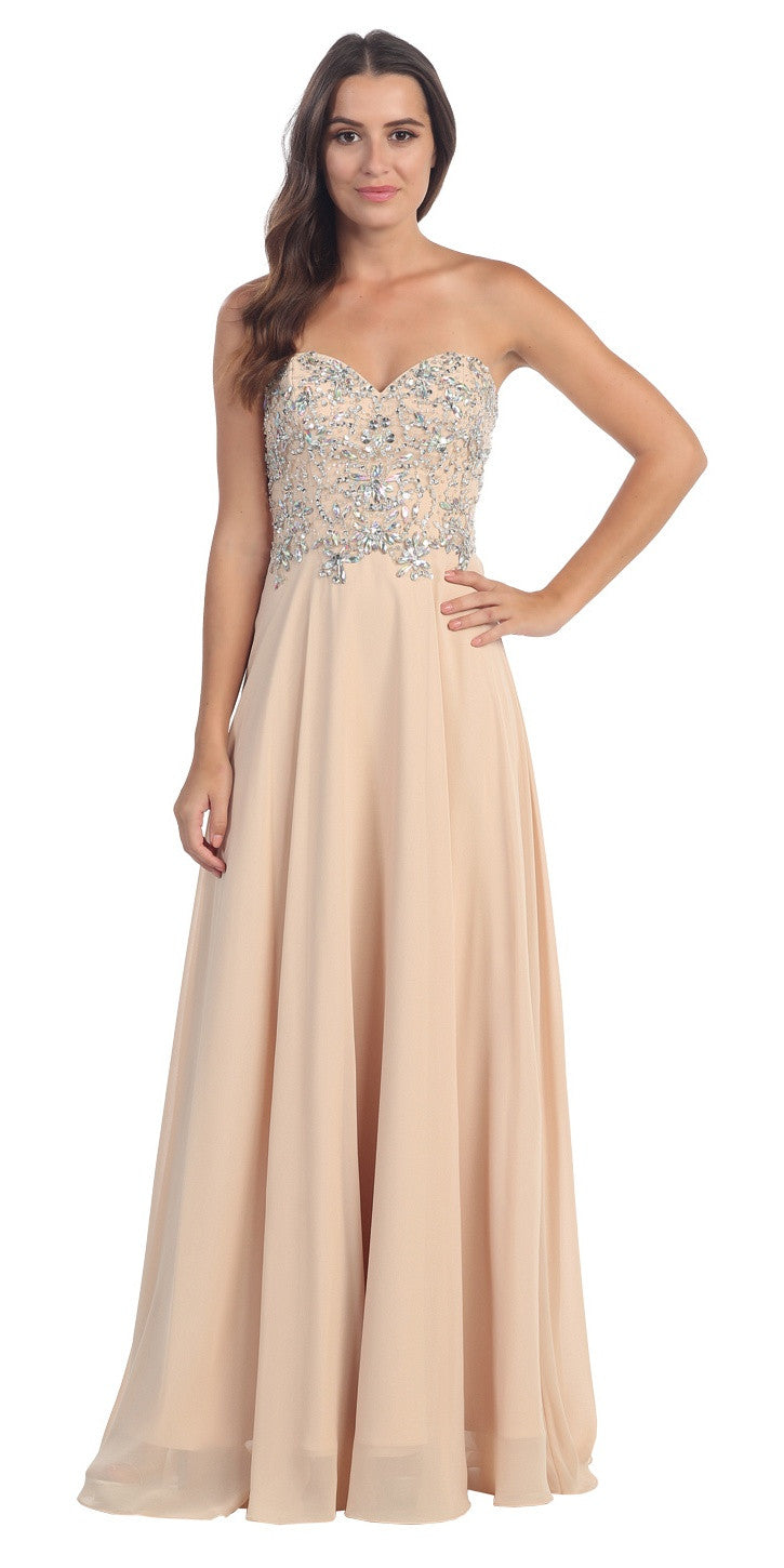 Floor Length Formal Champagne Chiffon Gown Strapless Beaded Bodice