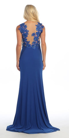 Floral Appliqued Illusion Neckline Royal Blue Column Gown