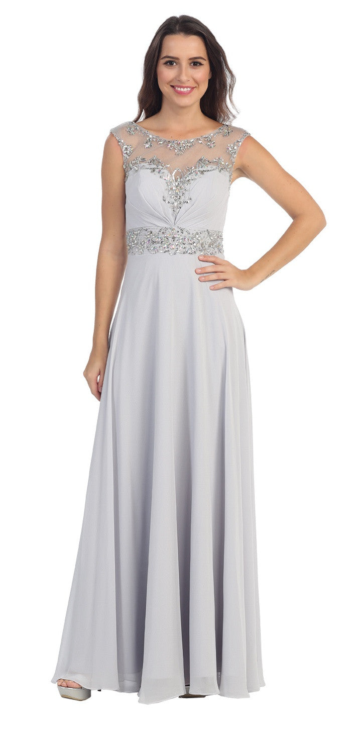 Formal Evening Silver Gown Chiffon Cap Sleeve Illusion Neck