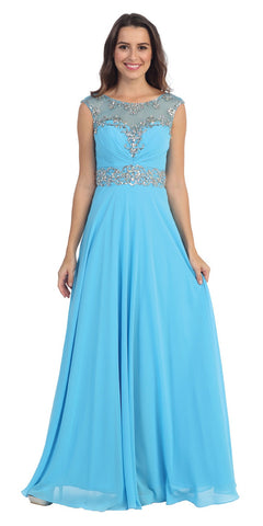 Formal Evening Turquoise Gown Chiffon Cap Sleeve Illusion Neck